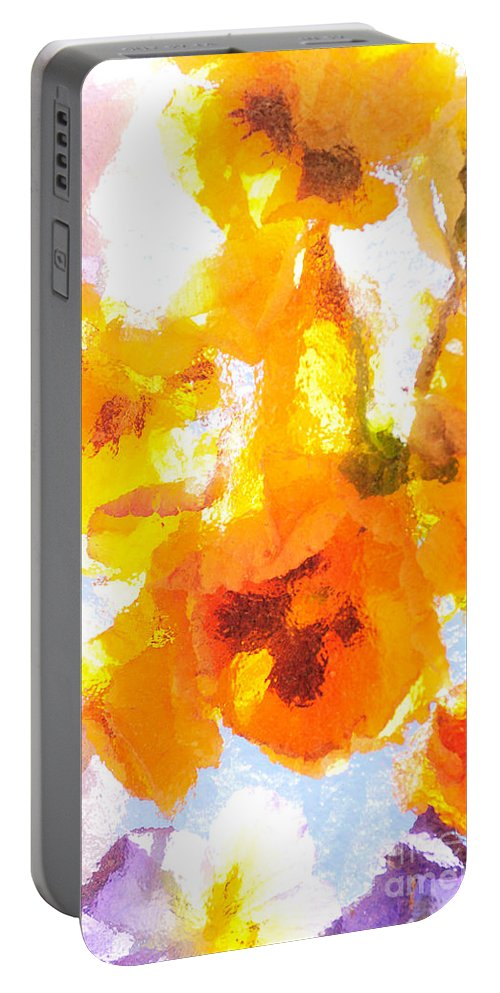 Flowers Portable Battery Charger featuring the photograph Pansy Flowers by Joe Mamer