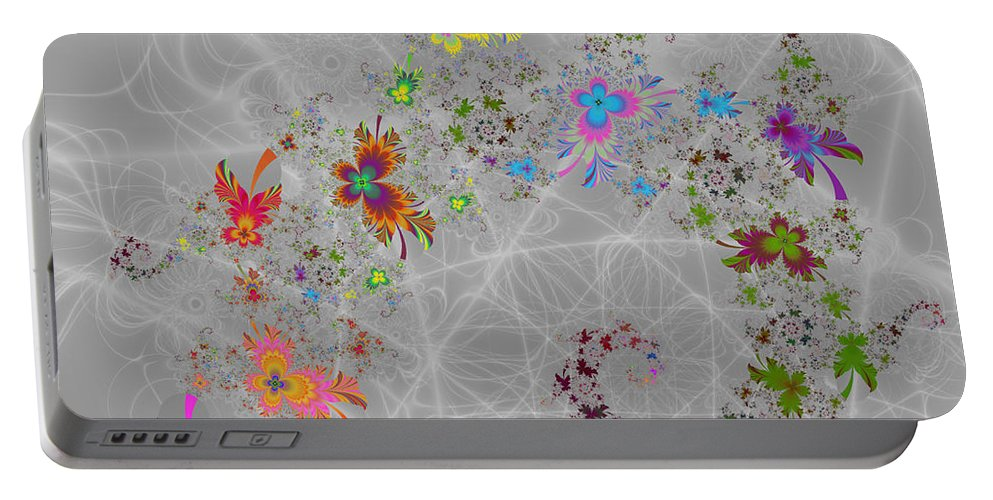 Flowers Portable Battery Charger featuring the digital art Pansy Spiral by Kiki Art