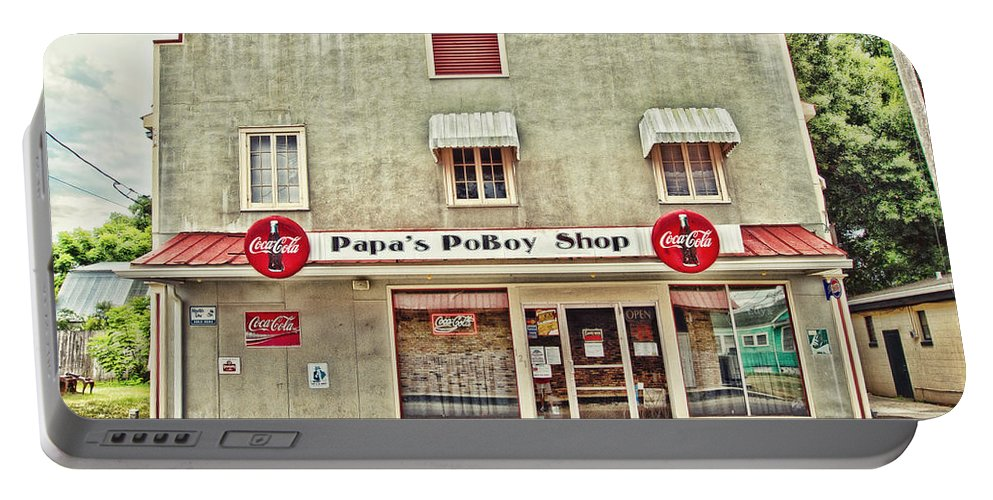 Napoleonville Portable Battery Charger featuring the photograph Papa's Poboy Shop by Scott Pellegrin