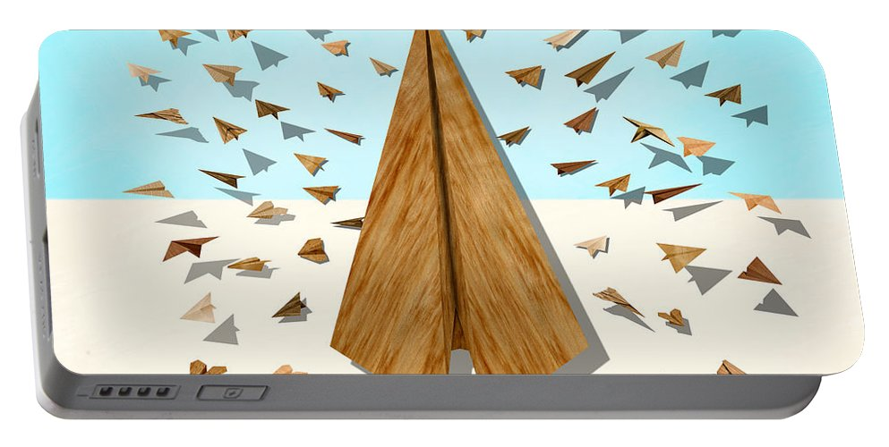 Aircraft Portable Battery Charger featuring the digital art Paper Airplanes Of Wood 10 by YoPedro
