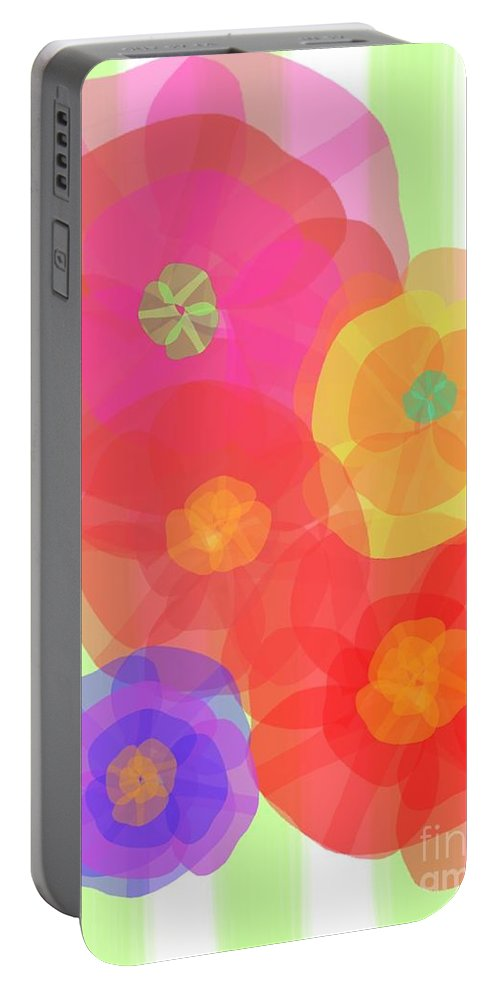 Abstract Portable Battery Charger featuring the digital art Paper Flowers by Christine Fournier