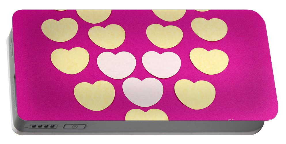 Paper Portable Battery Charger featuring the mixed media Paper Hearts by Lee Serenethos