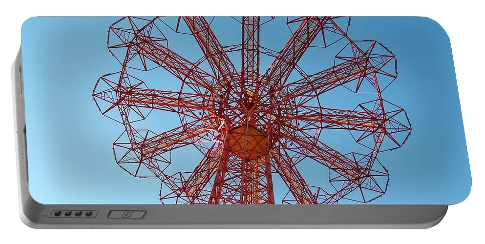 Coney Island Portable Battery Charger featuring the photograph Parachute Jump-coney Island by Ed Weidman