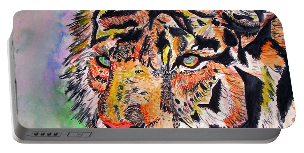 Abstract Portable Battery Charger featuring the painting Paradise Dream by Crystal Hubbard