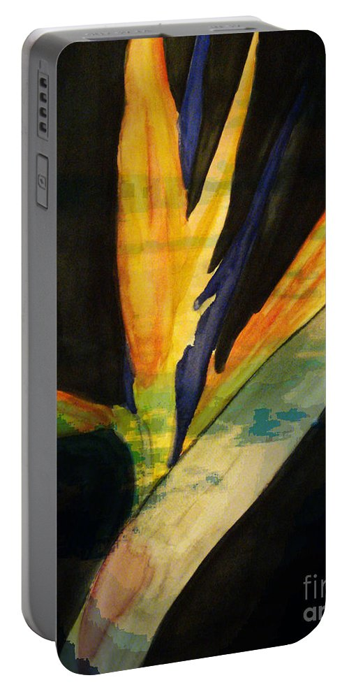 Digital Art Flower Portable Battery Charger featuring the digital art Paradise II by Yael VanGruber