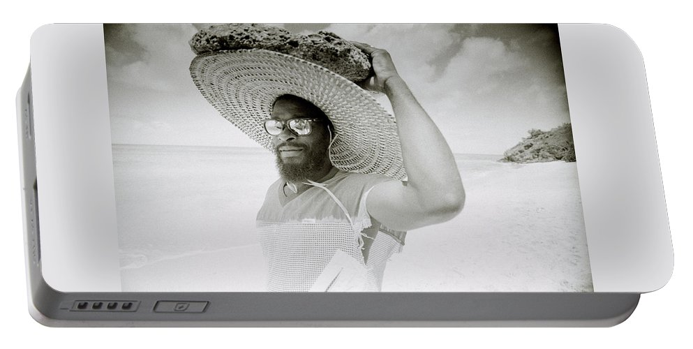 Black And White Portable Battery Charger featuring the photograph Paradise Island by Shaun Higson