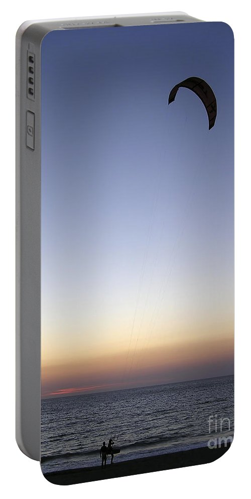 Paraglider Portable Battery Charger featuring the photograph Paragliders Sunset by Zoran Berdjan