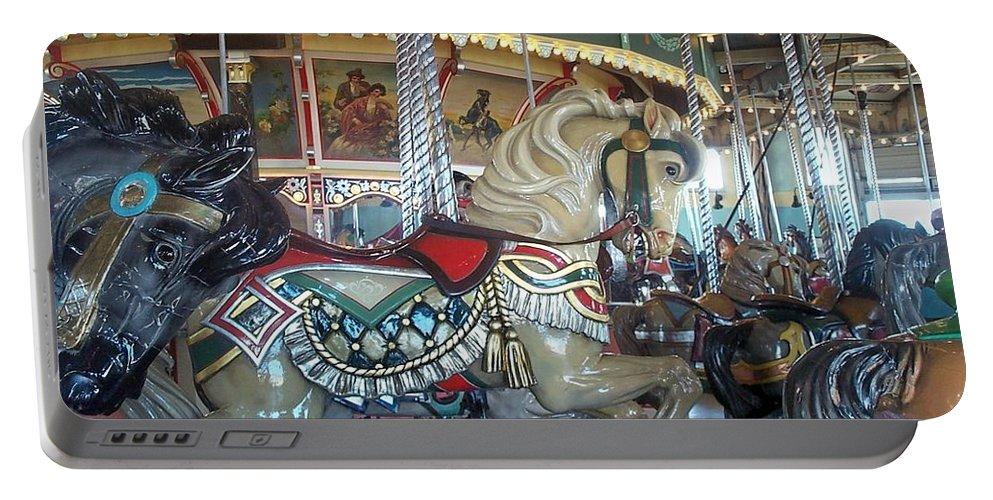 Carousel Portable Battery Charger featuring the photograph Paragon Carousel Nantasket Beach by Barbara McDevitt