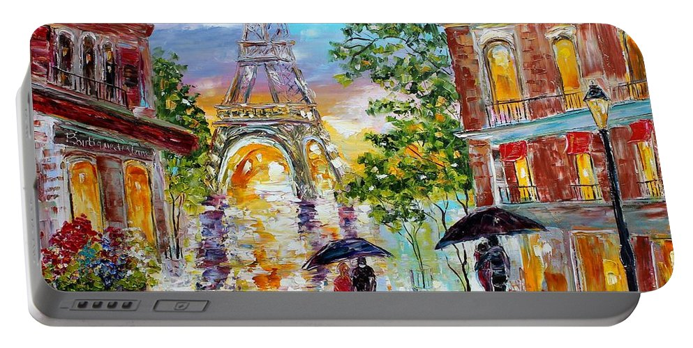 Romance Paintings Portable Battery Charger featuring the painting Paris Romance by Karen Tarlton