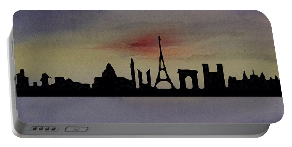 Paris Portable Battery Charger featuring the painting Paris Skyline by Donna Walsh
