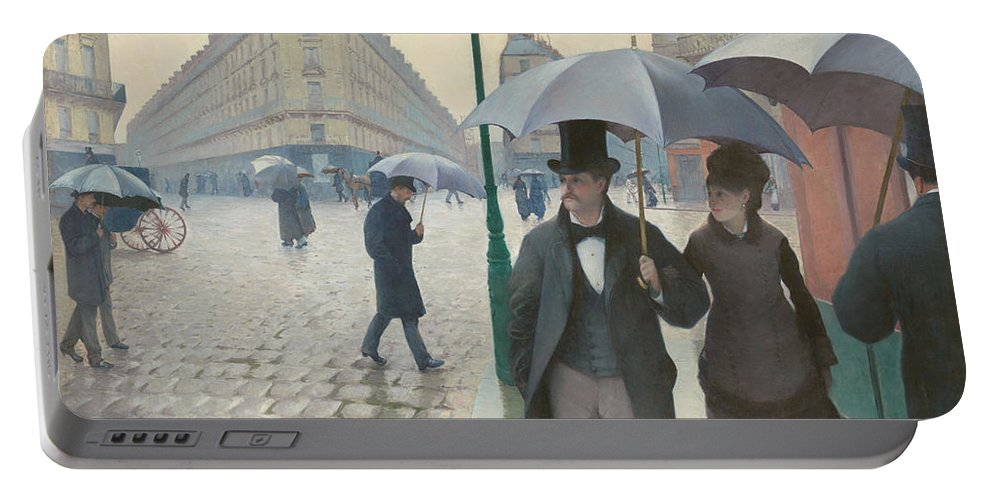 Gustave Caillebotte Portable Battery Charger featuring the painting Paris Street In Rainy Weather by Gustave Caillebotte