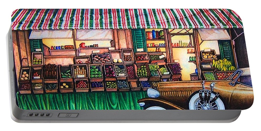 Portable Battery Charger featuring the painting Paris Street Market by JL Vaden