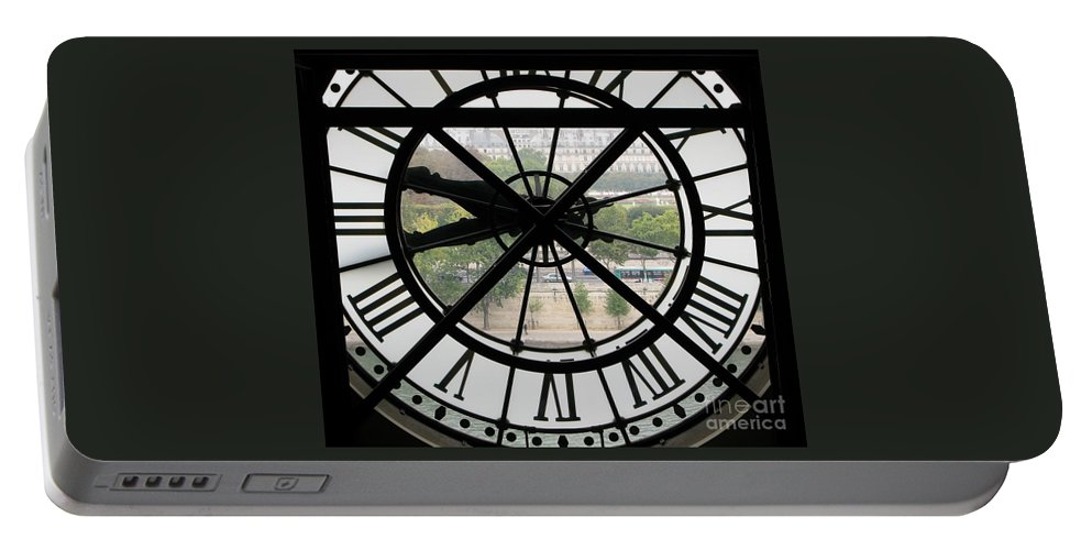 Clock Portable Battery Charger featuring the photograph Paris Time by Ann Horn