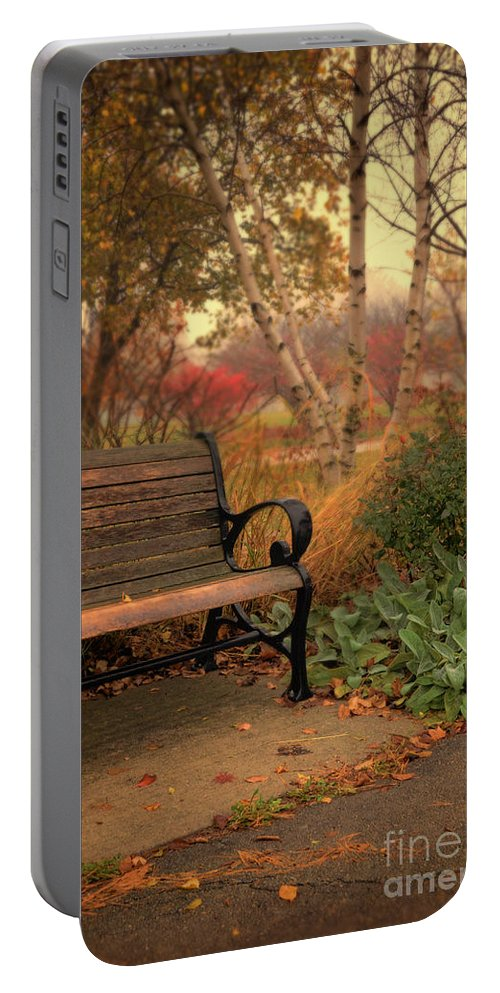 Bench Portable Battery Charger featuring the photograph Park Bench In Autumn by Jill Battaglia