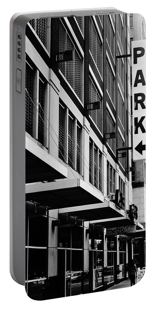 Parking Portable Battery Charger featuring the photograph Park... Bw... Detroit by Daniel Thompson