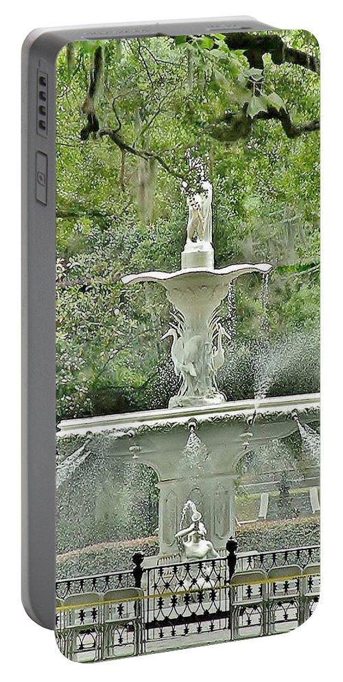 Forsyth Portable Battery Charger featuring the photograph Forsyth Park Fountain - Savannah Georgia by Kim Bemis