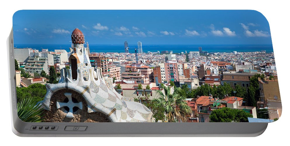 Guell Portable Battery Charger featuring the photograph Park Guell Barcelona by Michal Bednarek