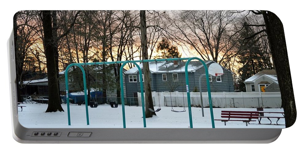 Greetings Portable Battery Charger featuring the photograph Park In Winter by Sonali Gangane