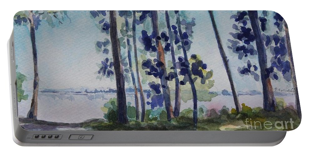 Nature Portable Battery Charger featuring the painting Park on Harvard Two by Jan Bennicoff