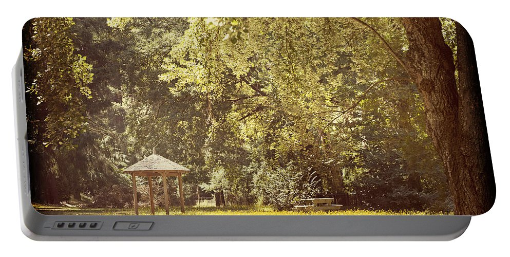 Park Portable Battery Charger featuring the photograph Park Shelter Filtered by Tim Hester