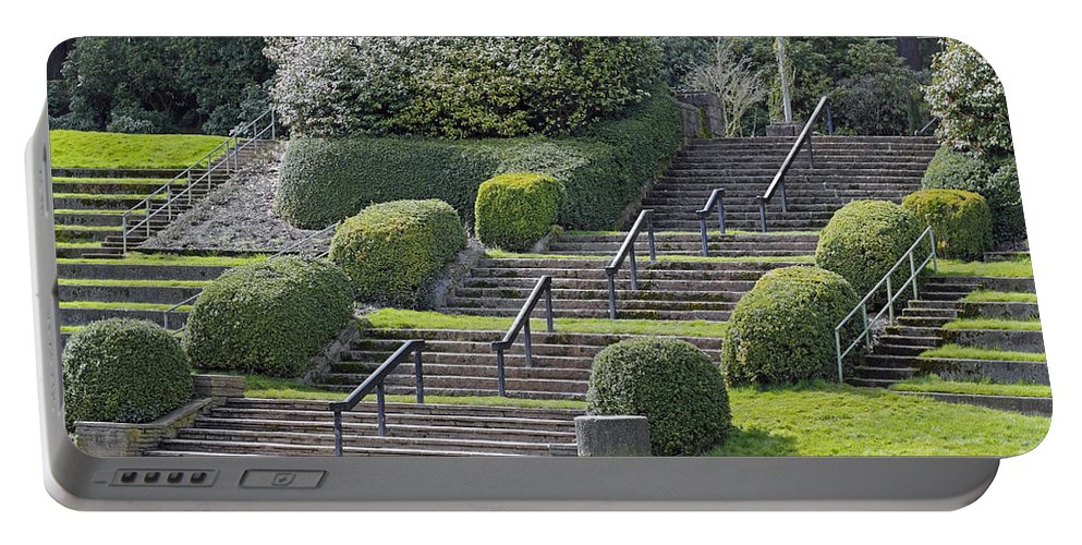 Park Portable Battery Charger featuring the photograph Park Stairs by Lee Serenethos