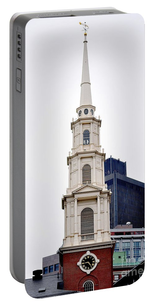 Church Portable Battery Charger featuring the photograph Park Street Church Boston Massachusetts by Staci Bigelow