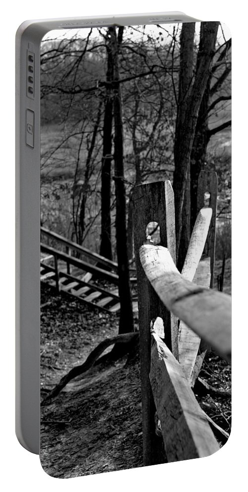 Autumn Portable Battery Charger featuring the photograph Park Trail Bw by Pablo Rosales
