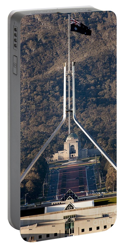 Australia Portable Battery Charger featuring the photograph Parliament And War Memorial Australia by Steven Ralser