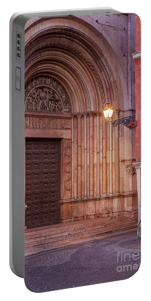 Duomo Portable Battery Charger featuring the photograph Parma Baptistery Doorway by Brian Jannsen