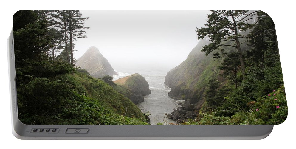 Heceta Head Lighthouse Portable Battery Charger featuring the photograph Parrot Rock In The Fog by Christiane Schulze Art And Photography