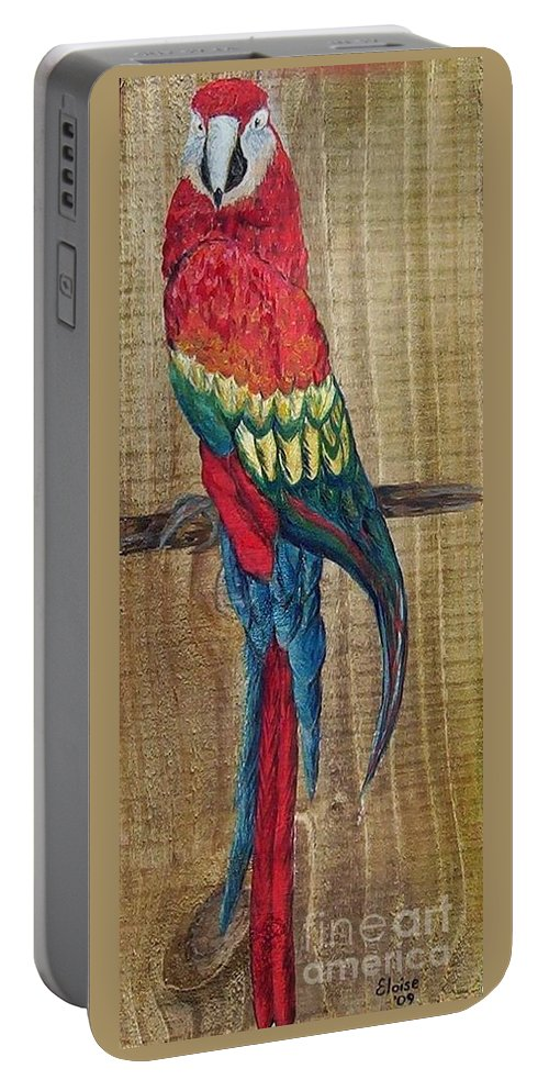 Parrot Portable Battery Charger featuring the painting Parrot - Scarlet Macaw by Eloise Schneider Mote