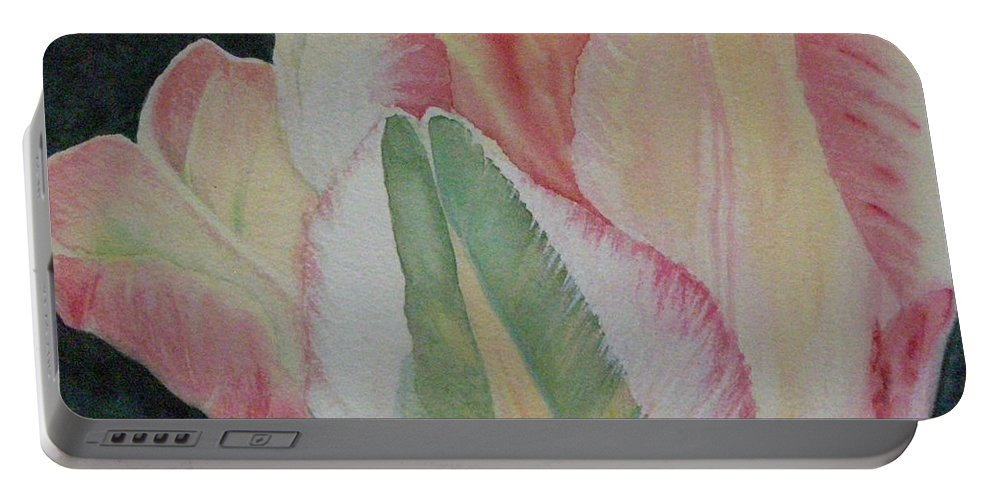 Parrot Tulip Portable Battery Charger featuring the painting Parrot Tulip by Lynn Quinn