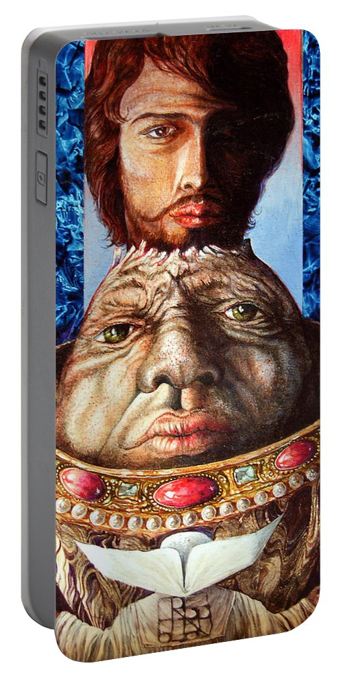 Surrealism Portable Battery Charger featuring the painting Parthenogenesis II by Otto Rapp