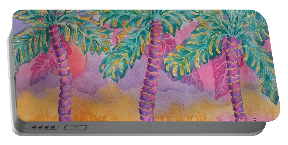 Palm Tree Portable Battery Charger featuring the painting Party Palms by Rhonda Leonard