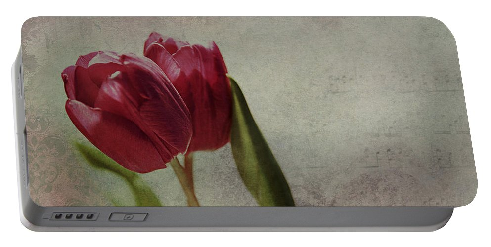 Tulip Portable Battery Charger featuring the mixed media Pas De Deux by Claudia Moeckel