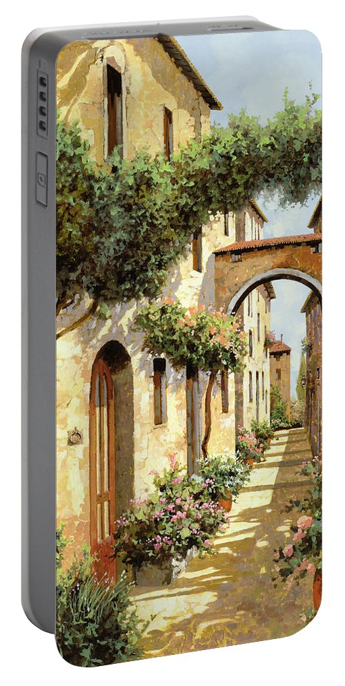 Landscape Portable Battery Charger featuring the painting Passando Sotto L'arco by Guido Borelli