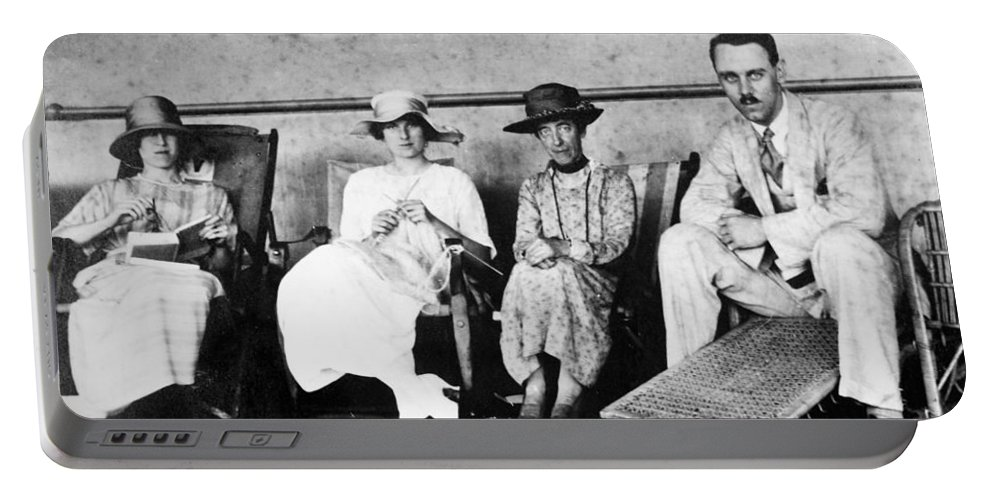 1912 Portable Battery Charger featuring the photograph Passengers On Ship, 1912 by Granger