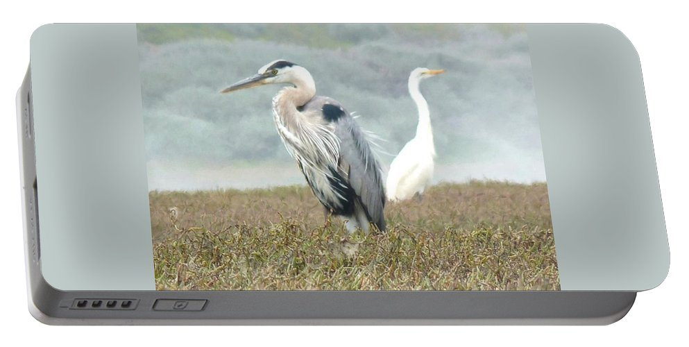 Great Blue Heron Portable Battery Charger featuring the photograph Passing In Opposite Directions by Kris Hiemstra