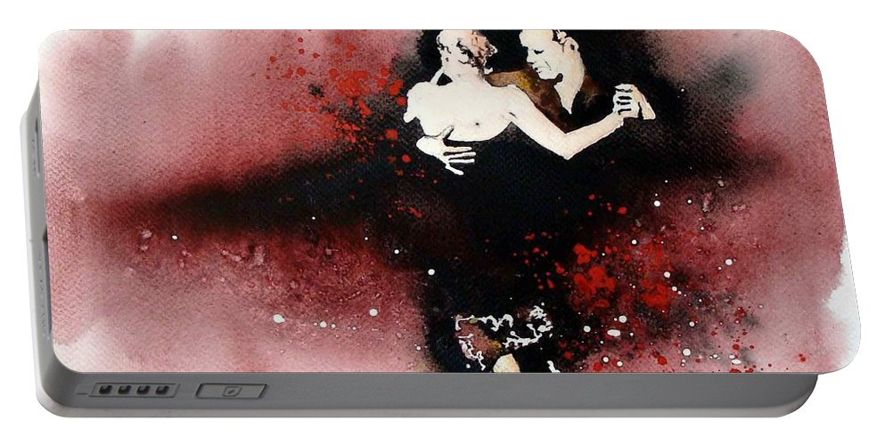 Tango Portable Battery Charger featuring the painting Passion by Mugur Popa