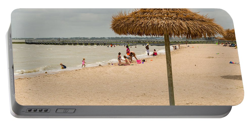 Texas Portable Battery Charger featuring the photograph Past Midday Port Lavaca Beach by JG Thompson
