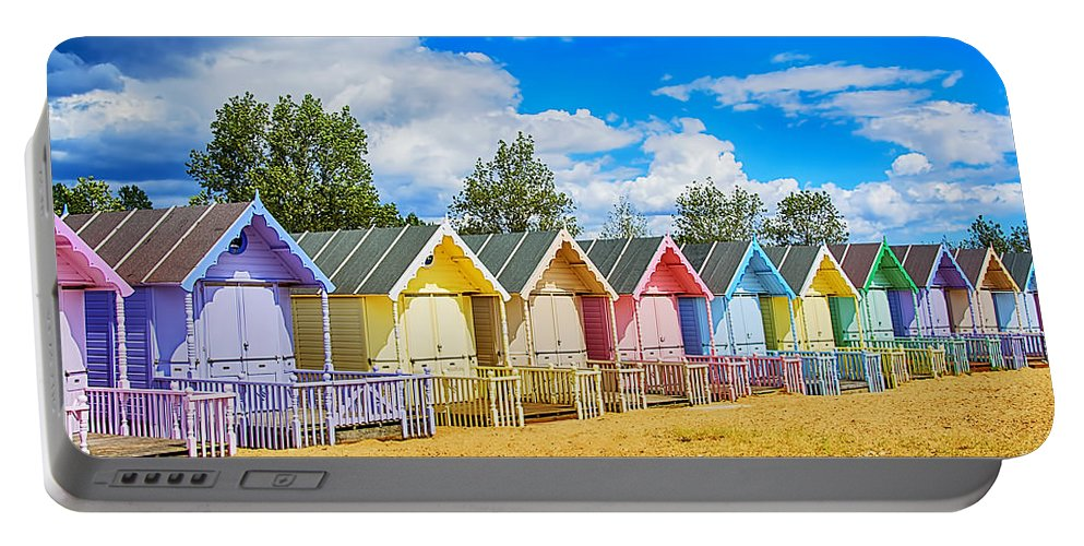 Beach Huts Canvas Portable Battery Charger featuring the photograph Pastel Beach Huts by Chris Thaxter
