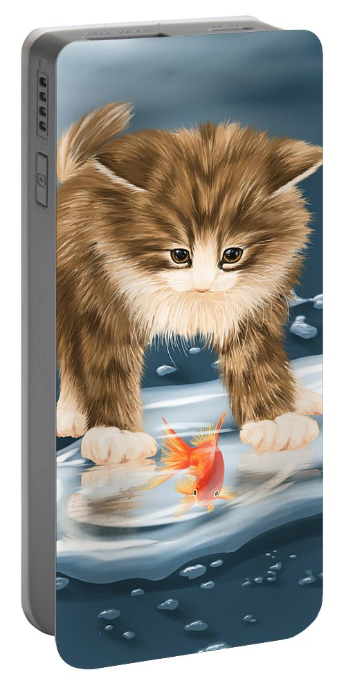 Animal Portable Battery Charger featuring the painting Pastime by Veronica Minozzi