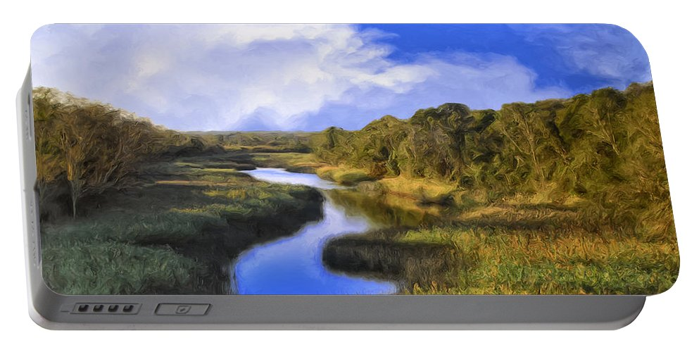 Meadow Portable Battery Charger featuring the painting Pastoral by Dominic Piperata
