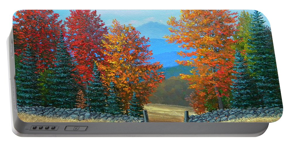 Autumn Portable Battery Charger featuring the painting Pasture Gate In Autumn by Frank Wilson