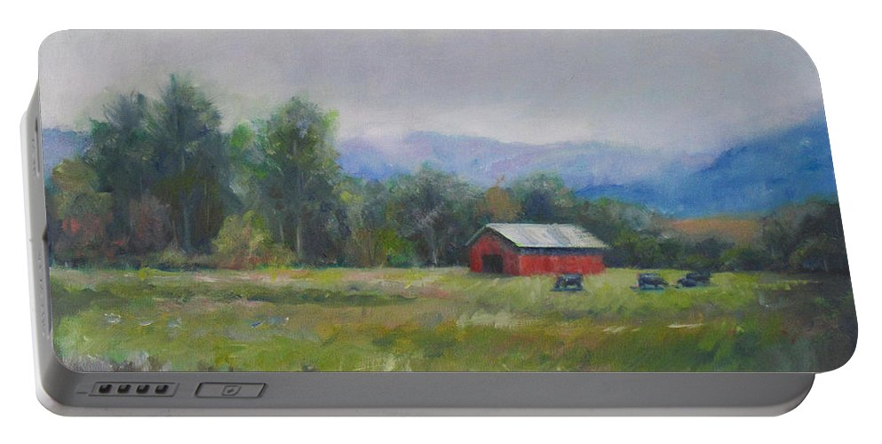 Painting Portable Battery Charger featuring the painting Pasture by Sarah Parks
