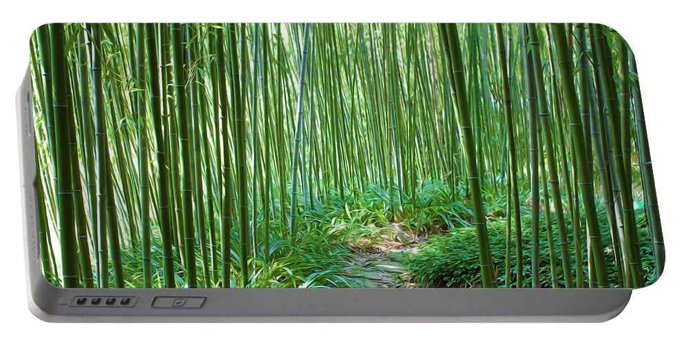 Rain Portable Battery Charger featuring the painting Path Through Bamboo Forest by Jeelan Clark