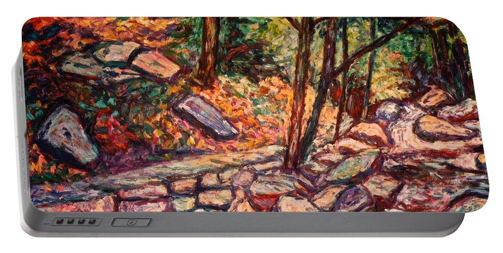 Landscape Portable Battery Charger featuring the painting Path To The Cascades by Kendall Kessler