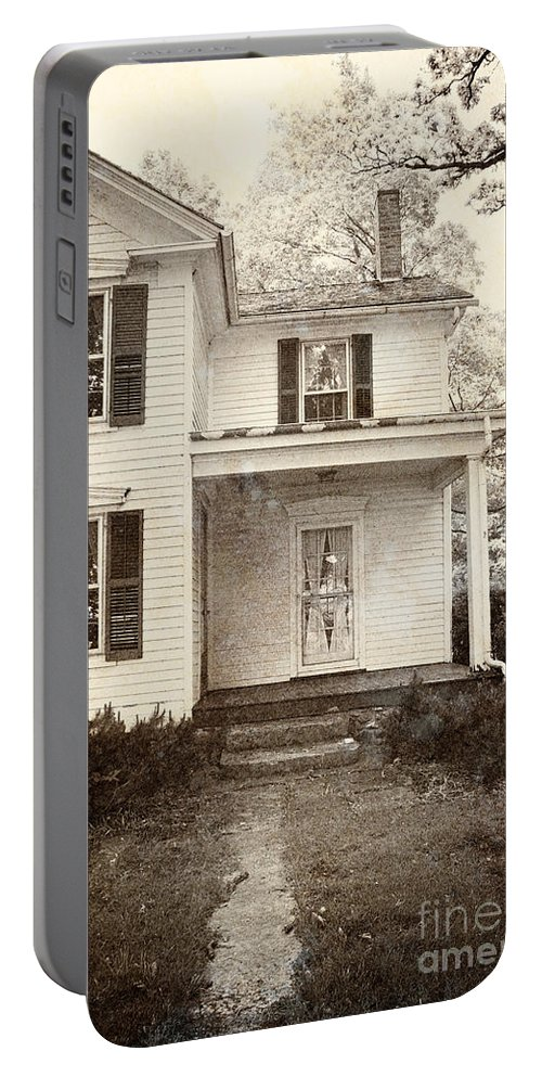 House; Home; Porch; Door; Steps; Cement; Settling; Old; Dirty; Grunge; Broken; Sepia; Facade; Locked; Closed; Siding; White; Wood; Wooden; Path; Trees; Bushes; Windows; Two Story; Farm House Portable Battery Charger featuring the photograph Path To The Door by Margie Hurwich