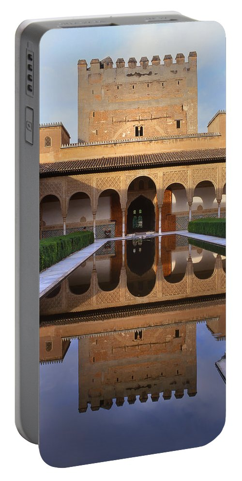 The Alhambra Portable Battery Charger featuring the photograph Patio De Los Arrayanes La Alhambra by Guido Montanes Castillo