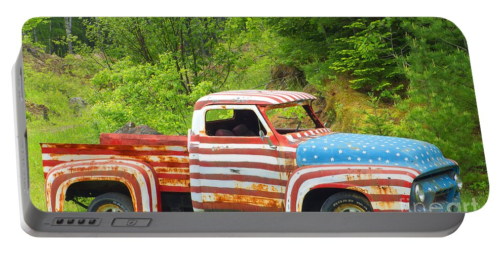 Flag Portable Battery Charger featuring the photograph Patriotic Truck by Ray Konopaske